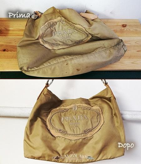 Lavaggio borsa Prada prima e dopo